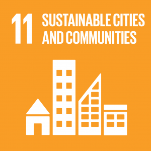 Logo for the 11th united nation sustainable development goal: sustainable cities and communities