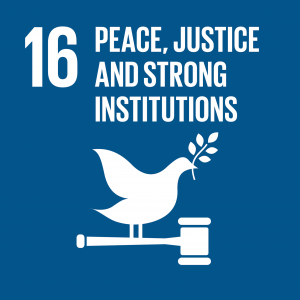 Logo for the 16th united nation sustainable development goal: peace, justice and strong institutions