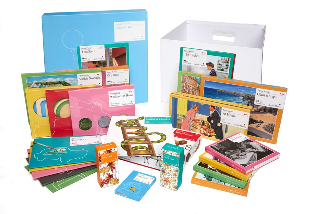 Active Minds product for people living with dementia: jigsaw puzzles, paintings...