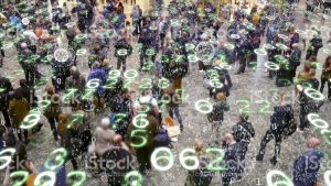 Numbers raining on people in the street