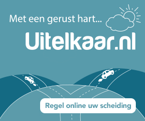 "Uitelkaar.nl press release picture, it says ""met een gerust hart..."" and shows a road splitting in two roads."